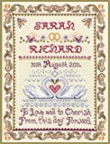 Swans wedding sampler cross stitch kit with COLOUR CHART