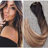 Ugeat 18zoll 120Gram Balayage Clip in Haarverlängerungen Farbe # 2 Fading zu Farbe # 6 und 12 Blonde Ombre Balayage Haarverlängerungen Menschliches Haar Clip in Erweiterungen voller Kopf