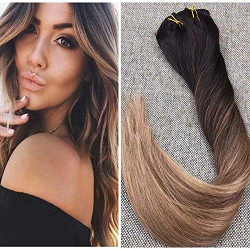 Ugeat 22zoll 140Gram Balayage Clip in Haarverlängerungen Farbe # 2 Fading zu Farbe # 6 und 12 Blonde Ombre Balayage Haarverlängerungen Menschliches Haar Clip in Erweiterungen voller Kopf