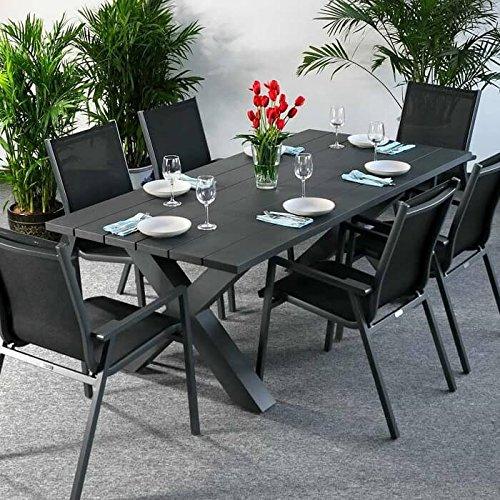 Table à manger Martha et 6 Chaises Abigail - GRIS | Table en aluminium de 200cm - design table de pique-nique avec pieds croisés