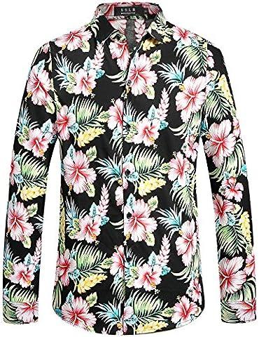 SSLR Men's Button Down Casual Long Sleeve Tropical Aloha Hawaiian Shirt (Small, Red Hibiscus)