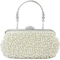topfive Damen Abendtasche mit Perlenkette für Hochzeit, Party, Braut-Handtasche (Beige)