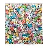 ALAZA Lustige Katze Emoji Bunter Duschvorhang 72 x 72 inch, schimmelresistent und Wasserdicht Polyester Dekoration Badezimmer-Vorhang