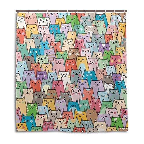 alaza Lustige Katze Emoji Bunter Duschvorhang 72 x 72 Inch, schimmelresistent und wasserdicht Polyester Dekoration Badezimmer-Vorhang (Duschvorhang Knöpfe)