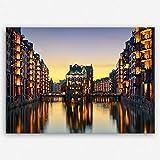 !!! SENSATIONSPREIS !!! ge Bildet hochwertiges Leinwandbild - Wasserschloss in der Speicherstadt - Hamburg - 30 x 20 cm einteilig | angebote der woche geschenke für frauen geschenke für männer |