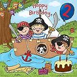 twizler 2nd Birthday für junge mit Piraten, Boot, Kuchen, Hund und Glitzer–Zwei Jahre–Alter 2–Kinder Geburtstag–Jungen Geburtstag Karte