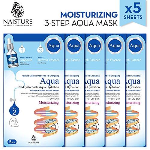 Naisture Aqua Essence 3-stufige Gesichtsmasken-Pack (5 Blätter) - Komplett natürlicher Feuchtigkeitsextrakt - Aqua Hydration Pack