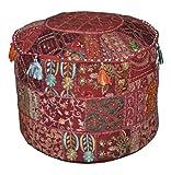 Rajasthali Indischen Vintage-osmanischen verschönert mit Stickerei & Patchwork Fuß Hocker Bodenkissen, 58 x 33 cm