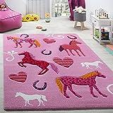 Paco Home Kinderzimmer Teppich Kinderteppich Pferde Huf Herz Motive Konturenschnitt Pink, Grösse:Ø 120 cm Rund