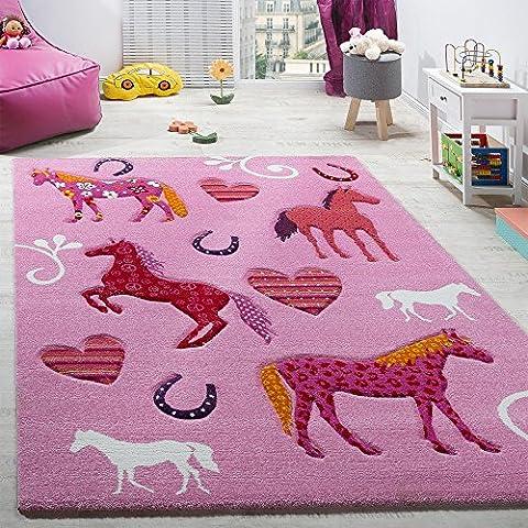 Kinderzimmer Teppich Kinderteppich Pferde Huf Herz Motive Konturenschnitt Pink, Grösse:140x200 cm