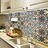 JY ART Adesivi per Piastrelle a Mosaico Carta da Parati ad Olio per Cucina Autoadesiva Bagno Bagno Linea da Soggiorno Linea Pastorale Adesivi per pareti Impermeabili, 60 * 100cm