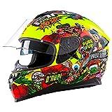 O'Neal Challenger Crank Street Integral Helm Motorrad Magnetverschluss Fidlock Sonnenblende, 0805-1, Farbe Neon Gelb, Größe M