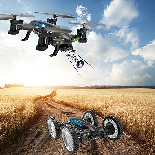 Qomomont Funsky K20 RC Flugzeuge mit HD Kamera WiFi FPV Fliegende Auto Drone Helikopter Spielzeug für Kinder