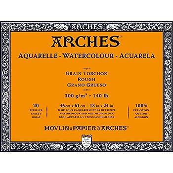 Arches Watercolour Block, 300 GSM, Rough, 46 x 61 cm, Wood, White