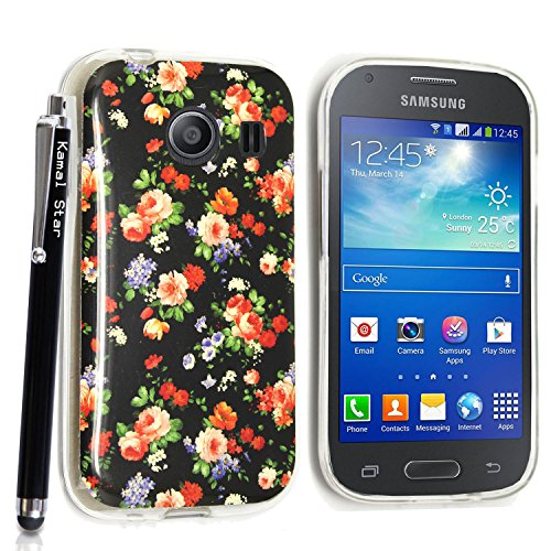 GSD STYLE YOUR MOBILE {TM} SAMSUNG GALAXY ACE STYLE SM-G310 GEL SILICONE SILIKON CASE SKIN GEL TPU Hülle COVER + STYLS (Flowers Roses on Black)