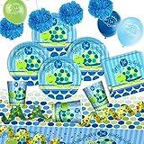 Partyset 1.Geburtstag Schildkröte blau, 45-teiliges Kindergeburtstag Deko Set