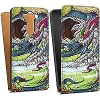 LG G3 S Tasche Hülle Flip Case Drachen Dragons Fantasie