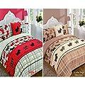 5 Piece Bed in Bag Duvet Quilt Cover Scottie Dog Tartan Animal Print Bedding Set - low-cost UK light store.