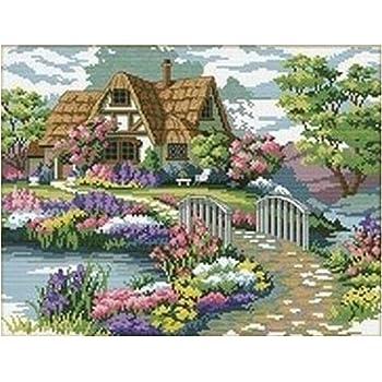 Kreuzstich Stickerei DIY Handarbeit Stickpackung Set Garden Cottage für