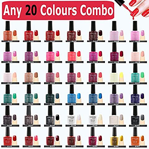 Lavender Violets® (Any 20 Soak off Gel Colour Combo) 100+ LED/UV Gel Nail Colours to Choose 8 ml. / Each Bottle Professional Gel Nail Varnish for Manicure Pedicure Salon Party Holiday Nail Design