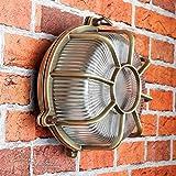 Wandleuchte Außen Antik Echt-Messing Rostfrei E27 Riffelglas Käfigschirm Rund Außenleuchte Feuchtraum Haus - 2