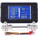 MICTUNING Pantalla LCD Medidor de Monitor de Batería DC 0-200V Voltímetro Amperímetro para Coche, Sistema Solar RV.