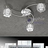 Deckenleuchte Kronleuchter Deckenlampe 50cm 3flammig armig Stahl chrom Glas Kristall Cube quadratisch Design Modernes Elegantes Wohnzimmer Küche Esszimmer Bad Kubik PL3Sophie Lighting