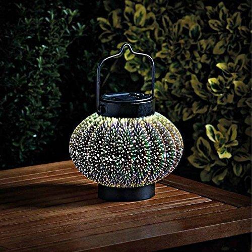 Homezone groß 3D Hologramm Cosmos Solar LED Laterne rund Wandbehang Terrassen Tisch Laterne oder Fenster Tafelaufsatz innen oder außen bunt Garten Beleuchtung