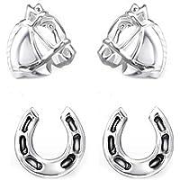 SL-Silver Set di orecchini cavallo e Ferro di cavallo 925 Argento in confezione regalo