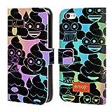 Head Case Designs Offizielle Emoji® Farben 2 Die Gelben Und Poos Brieftasche Handyhülle aus Leder für iPhone 5c