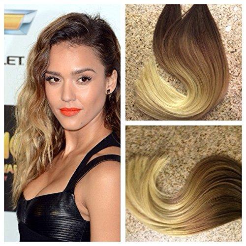45,7 cm 100 g Couleur Bicolore cheveux couleur blond délavé (613) Souligné avec ruban Blond Miel PU 100% Remy Cheveux Humains Extensions de cheveux 40 pièces