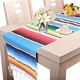Amajoy Manta de Mesa de Rayas mexicanas de 35 x 275 cm, Multicolor, con Flecos de algodón, para graduación, Fiesta, Boda, Fie