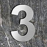 qobobo® Numero civico 3 Tre in Acciaio inossidabile 304 Aspetto galleggiante, Spazzolato / 200 x 135 x 2mm