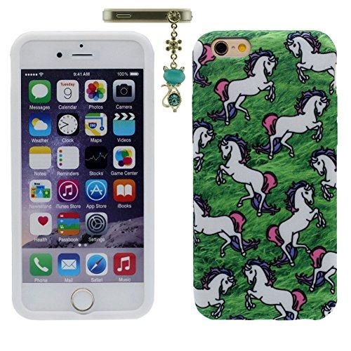 """iPhone 6S Plus Etui, iPhone 6 Plus Coque, Mince Souple Flexible Gel Silicone Original Tissu Fibre Matériel Anti Choc Case pour Apple iPhone 6 Plus / 6S Plus 5.5"""" Cheval Blanc Motif X 1 Métal pendentif vert"""