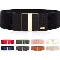 Cintura larga elasticizzata, da donna, per vestiti, cintura sottile con fibbia in metallo lucido, diversi colori…