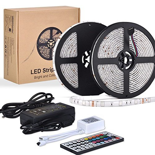 10M RGB Tira de LED 12V con Chip SMD 5050,ESEYE IP65 Impermeable Flexibles Multicolor 300 LEDs Strip Tiras Con Mando a Distancia y Adaptador Corriente Luce de LED Para Fiestas/Luz Ambiental