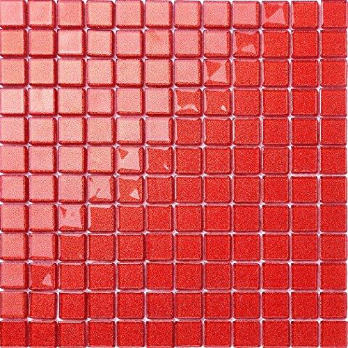 30x30cm Rot mit Glitzer Glas Mosaik Fliesen Matte (MT0128)