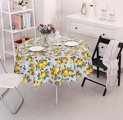 High Quality Vinylla Lemon Easy Wipe Clean PVC Tablecloth Oilcloth, Large