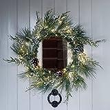 60cm Weihnachtskranz mit 50er Micro Kupferdraht Lichterkette warmweiß Lights4fun