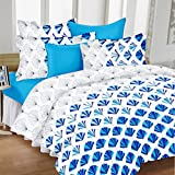 Ahmedabad Cotton Comfort 160 TC Cotton Bedsheet with 2 Pillow Covers - White and Blue