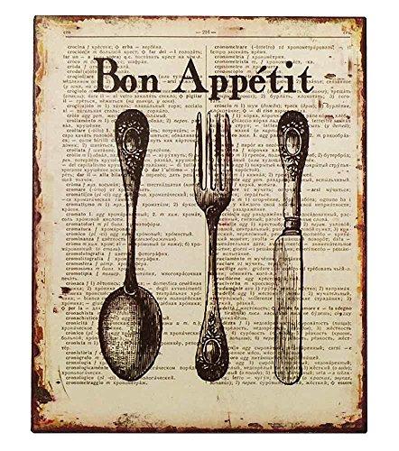 Preisvergleich Produktbild Nostalgie Blechschild Bon Appétit Besteck Dekoschild Vintage 25x20cm