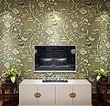 QXLML Tapete Vliestapete neuen chinesischen Stil Pfauenfeder und Blume Tapete Schlafzimmer Wohnzimmer Hintergrund Wand Papier 10 * 0.53 (M) ( Color : Dark green )