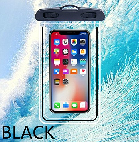 "Universal Waterproof Fluorescent Phone Case, Large phone waterproof pouch Dry Bag IPX8 Outdoor Sports for apple iPhone X, 8, 7, 6 Plus, SE, Samsung S9+ S9 S8+ LG V20 HTC, 6.5""High, Snowproof, (001 BLACK)"