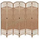 Folding Raffia Weave Wicker Privacy Panels / Room Dividers (6, Natural)