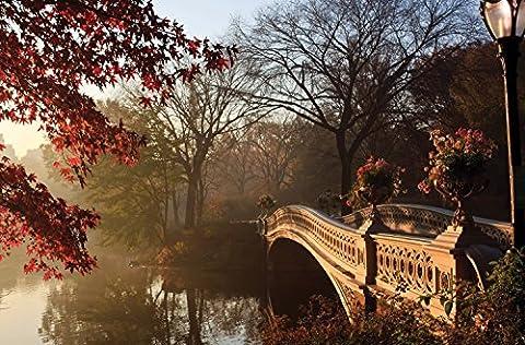 """JP London spmur2206Abziehen & Aufkleben Abnehmbare Wand Wandbild Central Park Wald Teich Brücke im Herbst bei """"3"""", Breite, 2"""