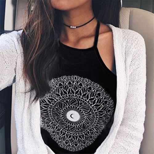 CYBERRY.M Débardeurs Femme Été Casual Sans Manches Bretelles Lune Crop-top T-shirt Blouse Vest Top Noir