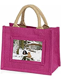 Cocker Spaniel and Cat Snow Scene Little Girls Small Pink Shopping Bag Christmas