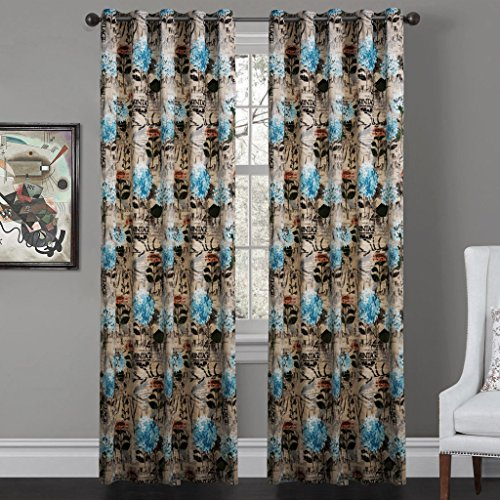 IYUEGO Contemporary Vintage Floral Clusters Grommet Top Lined Blackout Curtains Draperies With Multi Size Custom 50″ W x 63″ L (One Panel)