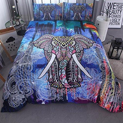 BEIZI 3D Elefanten Muster bettwäsche Bettbezug königin/König Kinder Kinder Teen Wohnheim Halloween Weihnachten Geschenk 3 stücke 1 bettbezug, 2 Kissenbezüge, C -