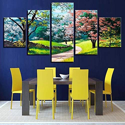 adgkitb canvas Hd Prints Leinwandbild Fünf Stücke Wandmalerei Nordica Infantil Home Schlafzimmer Dekor Wald Landschaft Poster